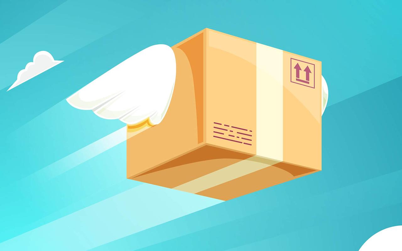 بسته پستی در حال پرواز نشان داده می شود.