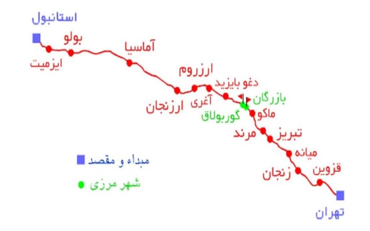 نقشه مسیرحمل بار از ترکیه با قطار